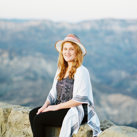 Portrait of Grace Kathryn Photography in the blue, rolling mountains of Santa Barbara, California